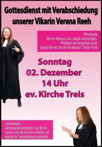 Plakat Verabschiedung Vikarin Verena Reeh.02.12.18